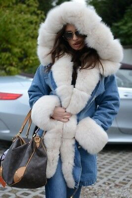2019 Military Jeans Parka Coat Hood Silver Fox Fur Class Sable Chinchilla Jacket