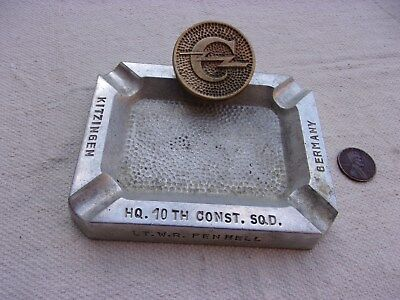 US Army 10th Constabulary Squadron Souvenir Ash Tray--Occupied Germany Late 40s