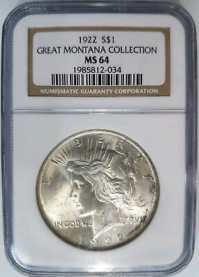 1922 Silver Peace Dollar NGC MS 64 Great Montana Collection Pedigree Hoard Coin
