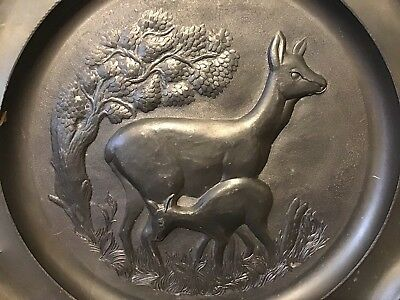 pewter vintage antique German wall plate plaque Mother deer With Baby