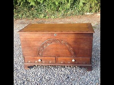 EARLY 19th C. OAK MULE CHEST DRAWERS STORAGE