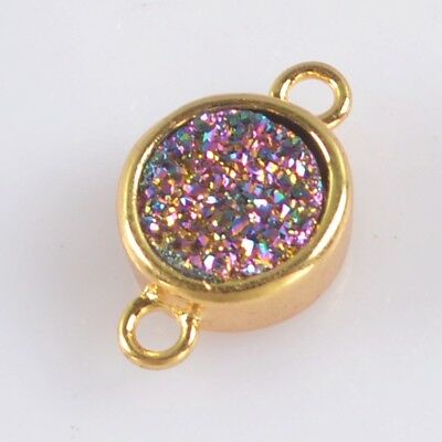9mm Round Natural Agate Titanium Druzy Bezel Connector Gold Plated H129173