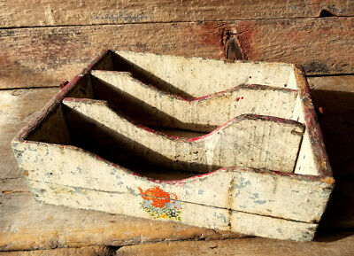 GRUNGY OLD UTENSIL BOX Layers of Old CHIPPY Paint DIVIDED Tray PRIMITIVE Rustic