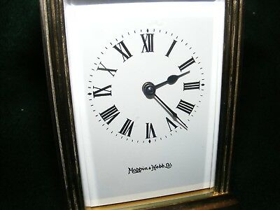 Vintage Mappin & Webb Carriage Clock Time Piece Heavy Brass Key Working Glass