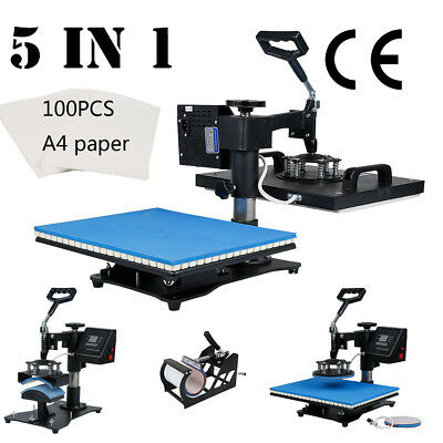 "5 in 1 12"" X 15"" Heat Transfer Press Sublimation Machine w/ 100pcs A4 Paper"