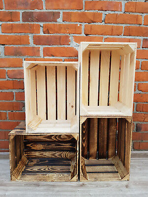 2-10 Rustic Strong&Solid Smoked & Natural Vintage Wooden Fruit Apple Crates Box