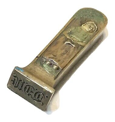 Vintage Antique Bronze Copper Weighted Women Stamp Monogram Seal Old