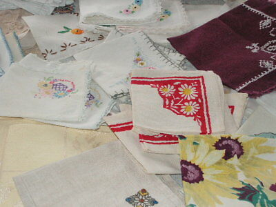 Vintage Napkins Lot Of 73 Linen Damask Cotton Embroidered Crochet Lot 73 Napkins