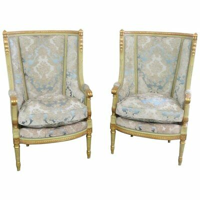 Pair of Louis XVI Style Paint Decorated Wing Back Chairs