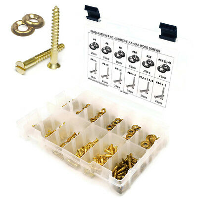 Brass Slotted Flat Head Wood Screw Assortment Kit with Cup Washers #4-#14 301pcs
