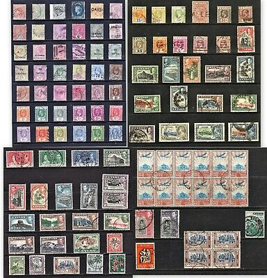 Four pages of early stamps of Ceylon. Some blocks included. Some shade variants.
