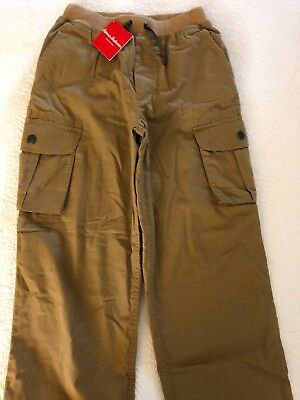 NWT Hanna Andersson Boys Print Jersey Lined Cargo Pants Tan Size 150