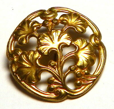 LOVELY ANTIQUE FRENCH ART NOUVEAU PIERCED GILT BRASS BUTTON w/GINGKO LEAVES