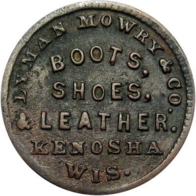 1863 Kenosha Wisconsin Civil War Token Lyman Mowry & Co R7