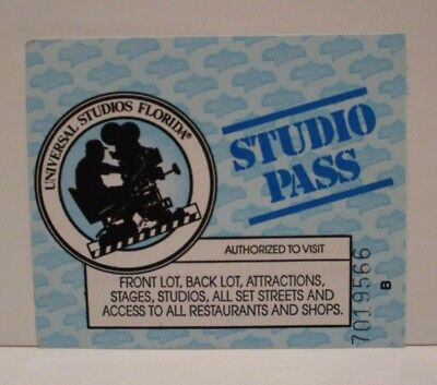 Universal Studios Theme Park Orlando Fl Admission Ticket Studio Pass 1995 Child