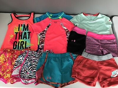 Girls Size Medium 7/8 Spring Summer 10 Piece Athletic Lot Under Armour Nike
