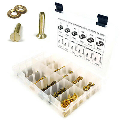 Brass Slotted Flat Head Machine Screw Assortment Kit with Cup Washers 301pcs