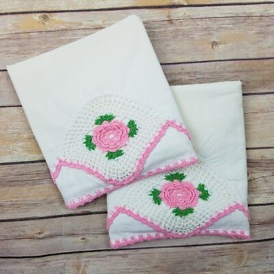 Vintage Single Pillowcase Crocheted Flower Floral Pillow Shams Set of 2 Pink