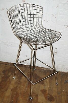 Harry Bertoia Knoll CHAIR Chrome Metal BAR STOOL w Cushion