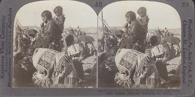 STEREOVIEW AMERICAN CROW INDIAN~MOTHER w/ PAPOOSE~NATIVE ATTIRE~ MONTANA