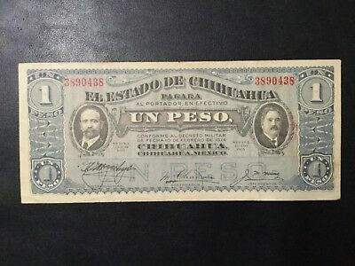 1915 Mexico-Chihuahua Paper Money - One Peso Banknote!