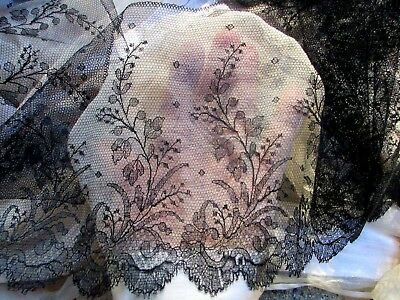 """Lovely Antique Victorian Silk Chantilly Lace Trim Flounce 6.5"""""""