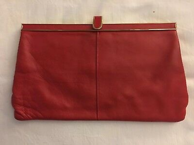 Vintage Jane Shilton Red Leather Clutch Bag With Chain Shoulder Strap
