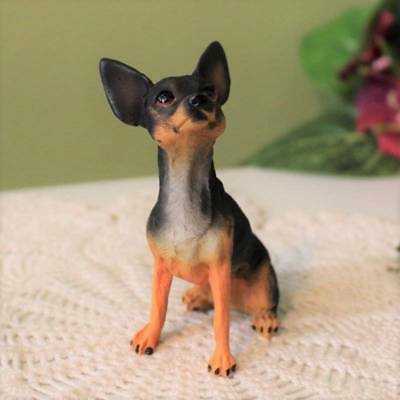 Chihuahua Dog Figurine Black and Tan 3.5 inch Statue Resin Sitting Down