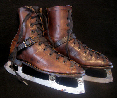 RARE Antique Old 1920's WINCHESTER Leather and Steel Ice Hockey Skates Vintage