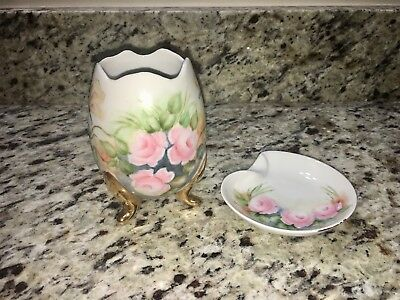 Antique/Vintage Small Bavarian Hand-Painted Ceramic Floral Set (Décor)
