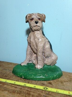Original Antique Vintage Hubley Cast Iron Fox Terrier Dog Doorstop #468