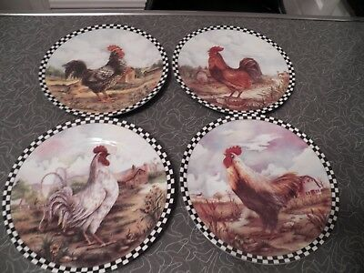 "Set Four 8"" Porcelain China Decorative Chicken Rooster Plates Black White Checks"