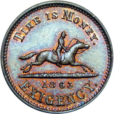 New York City Civil War Token Hussey's Special Message Post Horse Time Is Money