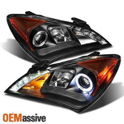 Fit 2010-12 Genesis Coupe 2DR Halo Projector Black Headlights W/Daytime LED DRL