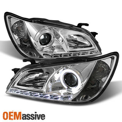 Fits 2001-2005 Lexus Altzza IS300 Chrome Halo Projector DRL LED Headlights Lamps
