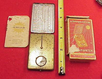 Antique Boy Scouts Brass Sunwatch Compass Outdoor Supply  Co Sundial Compass