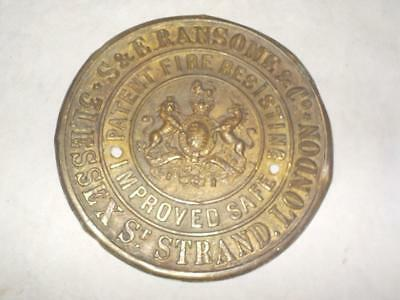 Antique S & E Ransome Strand London Brass Safe Nameplate