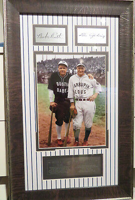 Babe Ruth and Lou Gehrig Framed Photo with Laser Signatures