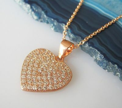 Heart Pendant Anchor Chain Real 925 Silver Necklace Yellow Gold Plated Gifts