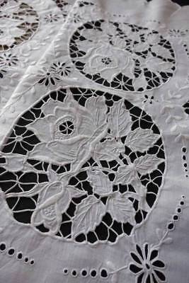 """Superb white Irish linen tablecloth with hand embroidery whitework. 46""""sq"""