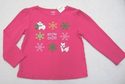 Girl sz 3T Gymboree Pink Snow Cute Scottie Dog Top Cheery all the Way RV $22 NEW