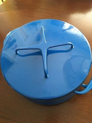 Vtg  Pristine DANSK Kobenstyle IHQ France BLUE Enamel Dutch Oven Stock Pot Lid!