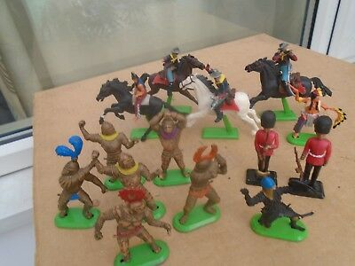 collection of Vintage Britains green stand figures including 1971 cowboys horses