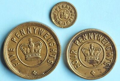Three troy weights, 5, 4, and half-pennyweight