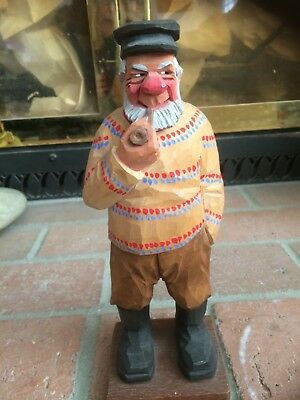 1971 C. O. Trygg Signed Fisherman With Pipe, Excellent Condition, Original Owner