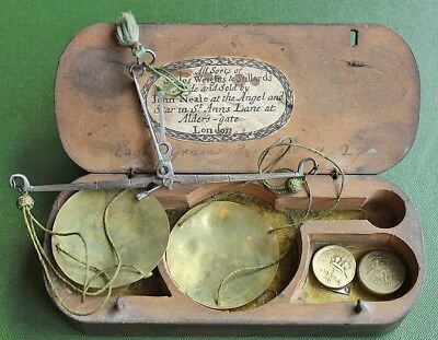 Rare coin scale and weights, John Neale, c1700.