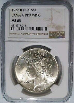 1922 Silver Peace Dollar NGC MS 63 Vam 7A DDR Wing Mint Error Top 50 Variety