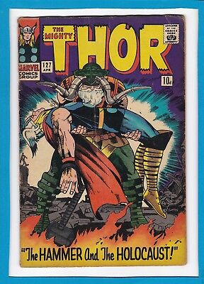 """Mighty Thor #127_April 1966_Fine Minus_Odin_""""hammer & The Holocaust""""_Silver Age!"""