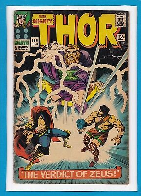 """Mighty Thor #129_June 1966_G/vg_Hercules_""""the Verdict Of Zeus""""_Silver Age!"""