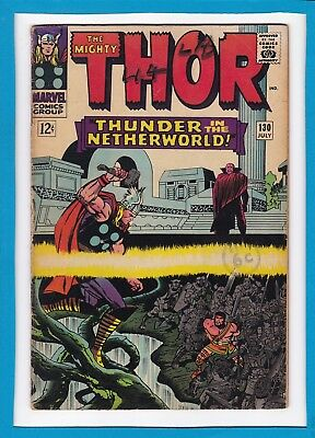 """Mighty Thor #130_July 1966_Very Good_""""thunder In The Netherworld""""_Silver Age!"""